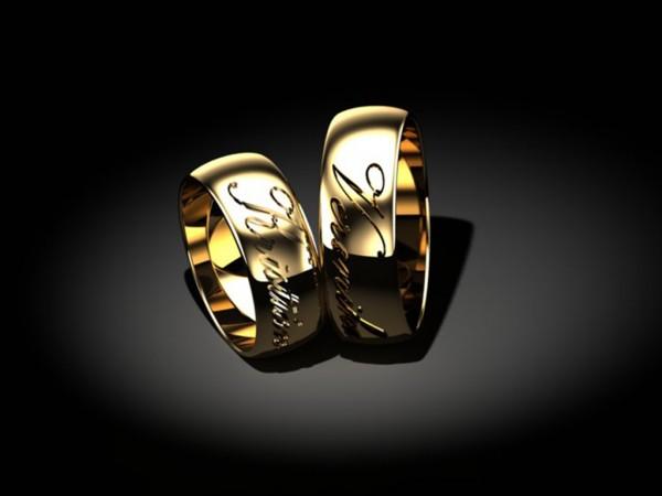 Personalizované obrúčky s menom - Žlté zlato